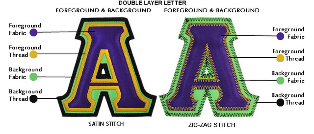 double layer letters, satin stitch vs. zigzag stitch