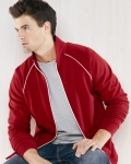 Full-Zip Fleece Unisex Cadet Collar Jacket with Piping