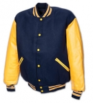 The Varsity Jacket with Genuine Leather Sleeve