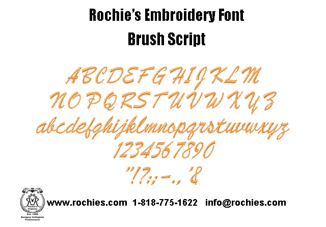 embroidery font brush script