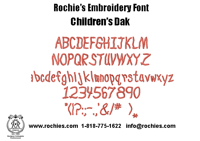 embroidery font children's dak