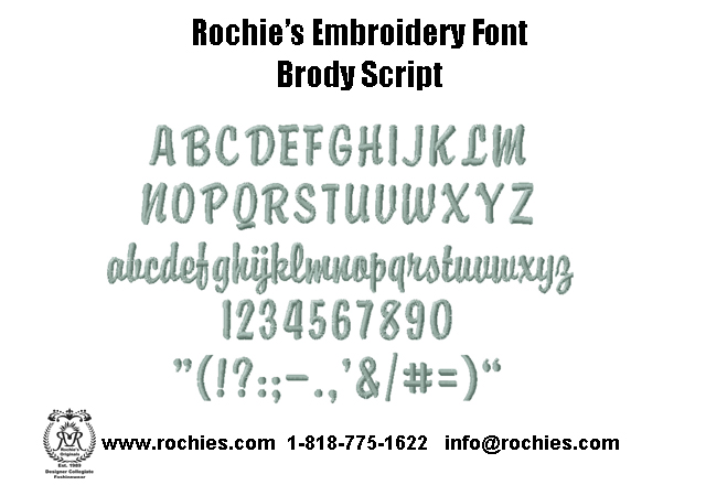 embroidery font brody