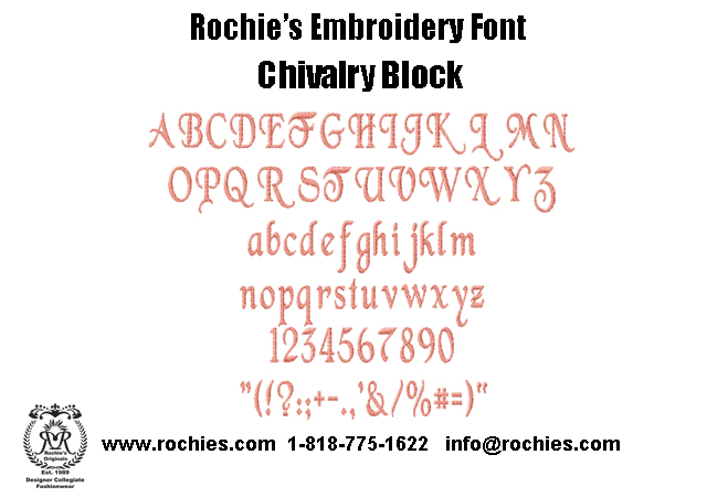Rochies.com Embroidery Font Chivalry Block