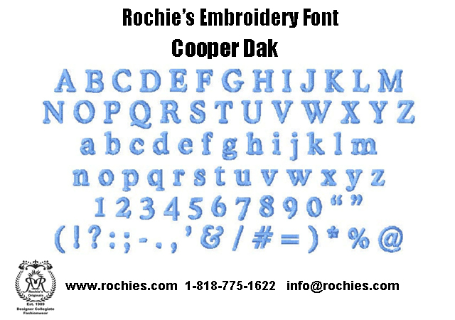 Rochies.com Embroidery Font Cooper Dak