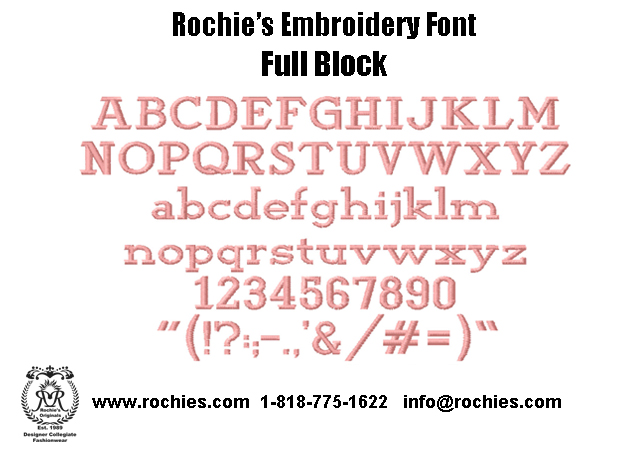 Rochies.com Embroidery Font Full Block