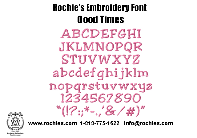 rochies.com Embroidery Font Good Times