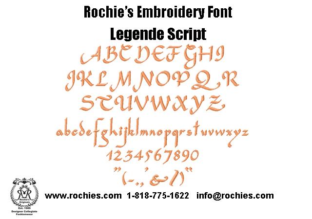 Rochies.com Embroidery Font Legende Script