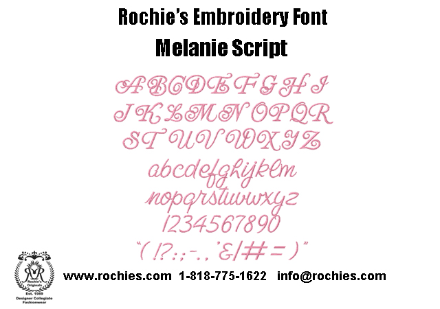 Rochies.com Embroidery Font Melanie Script