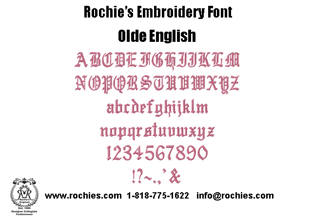 Rochies.com Embroidery Font Olde English