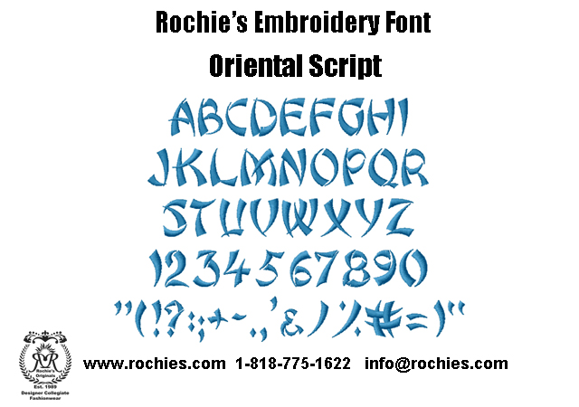 Rochies.com Embroidery Font Oriental Script