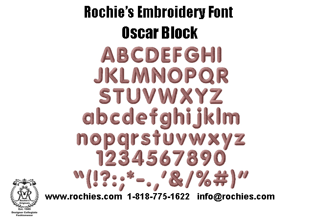 Rochies.com Embroidery Font Oscar Block