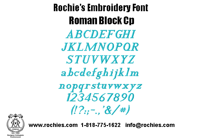 Rochies.com Embroidery Font Roman Block Cp