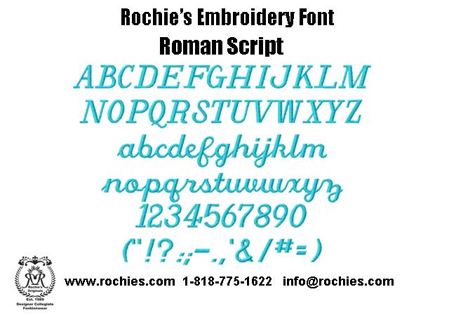 Rochies.com Embroidery Font Roman Script