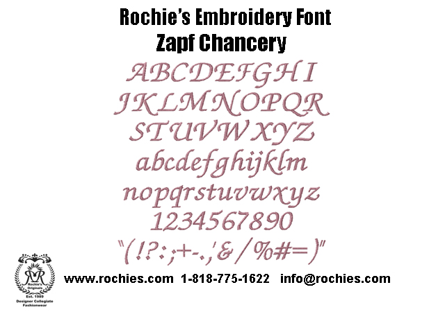 Rochies.com Embroidery Font Zapf Chancery